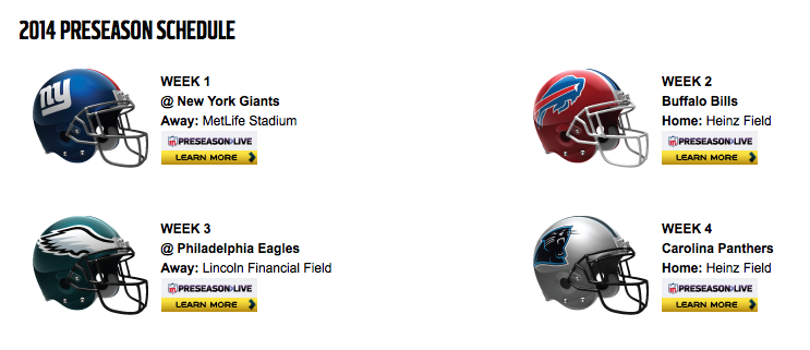 Pittsburgh Steelers 2014 Preseason Schedule