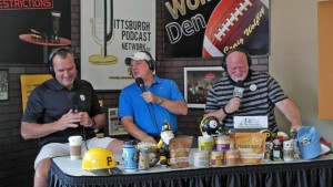 "L to R : Tunch Ilkin, Tom Bradley & Craig Wolfley talk Steelers on ""The Craig Wolfley Podcast"", LIVE at the 26th Street Market & Cafe in the Strip District"