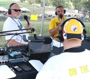 "Craig Wolfley & Tunch Ilkin LIVE (to tape) as producer Wayne ""2-Dub"" Weil works sound at Steelers Training Camp at St. Vincent College in Latrobe, Pa."